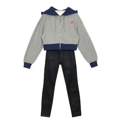zip-up hoodie sweat shirt & coating skinny jean